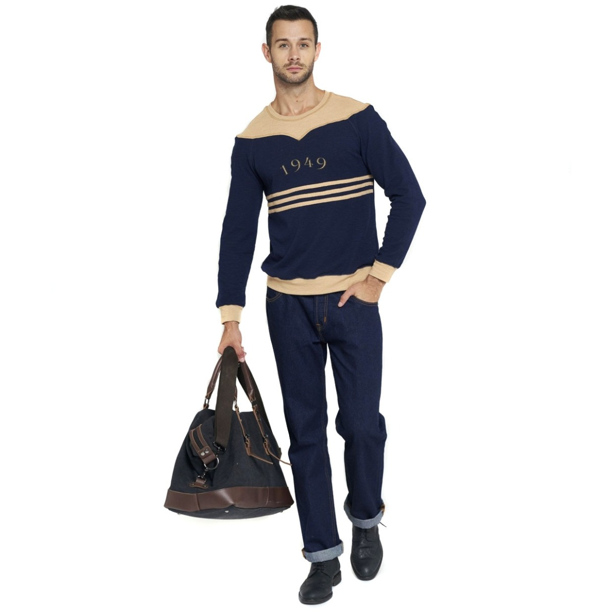 Collectif Tommy 1949 Gestreepte Trui Donkerblauw / Creme