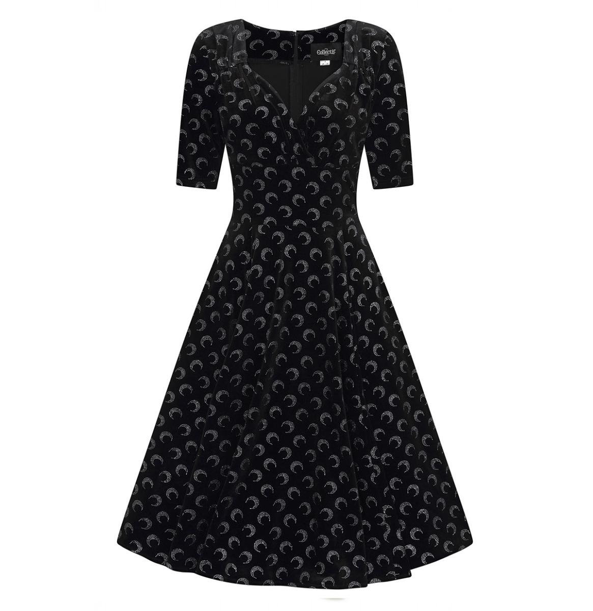 Collectif Trixie Dress Glitter Moon Velvet Zwart