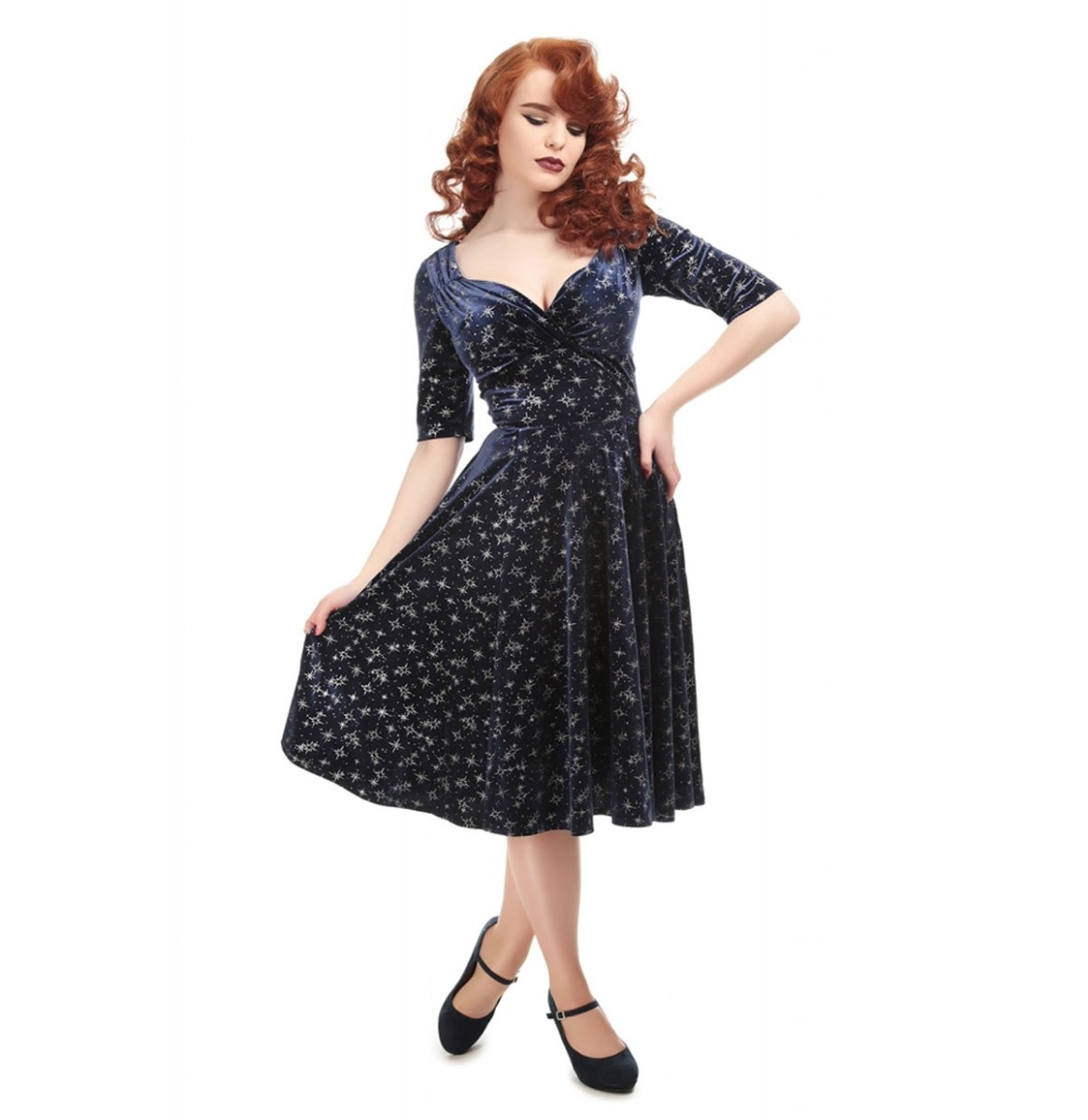 Collectif Trixie Doll Dress Velvet Sparkle Blauw