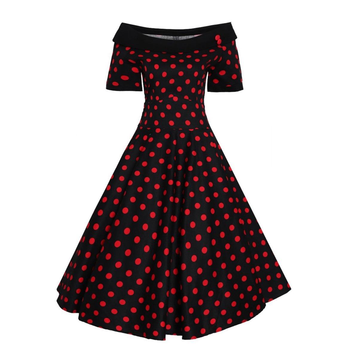 Dolly & Dotty Darlene Dress Zwart Rood Polka