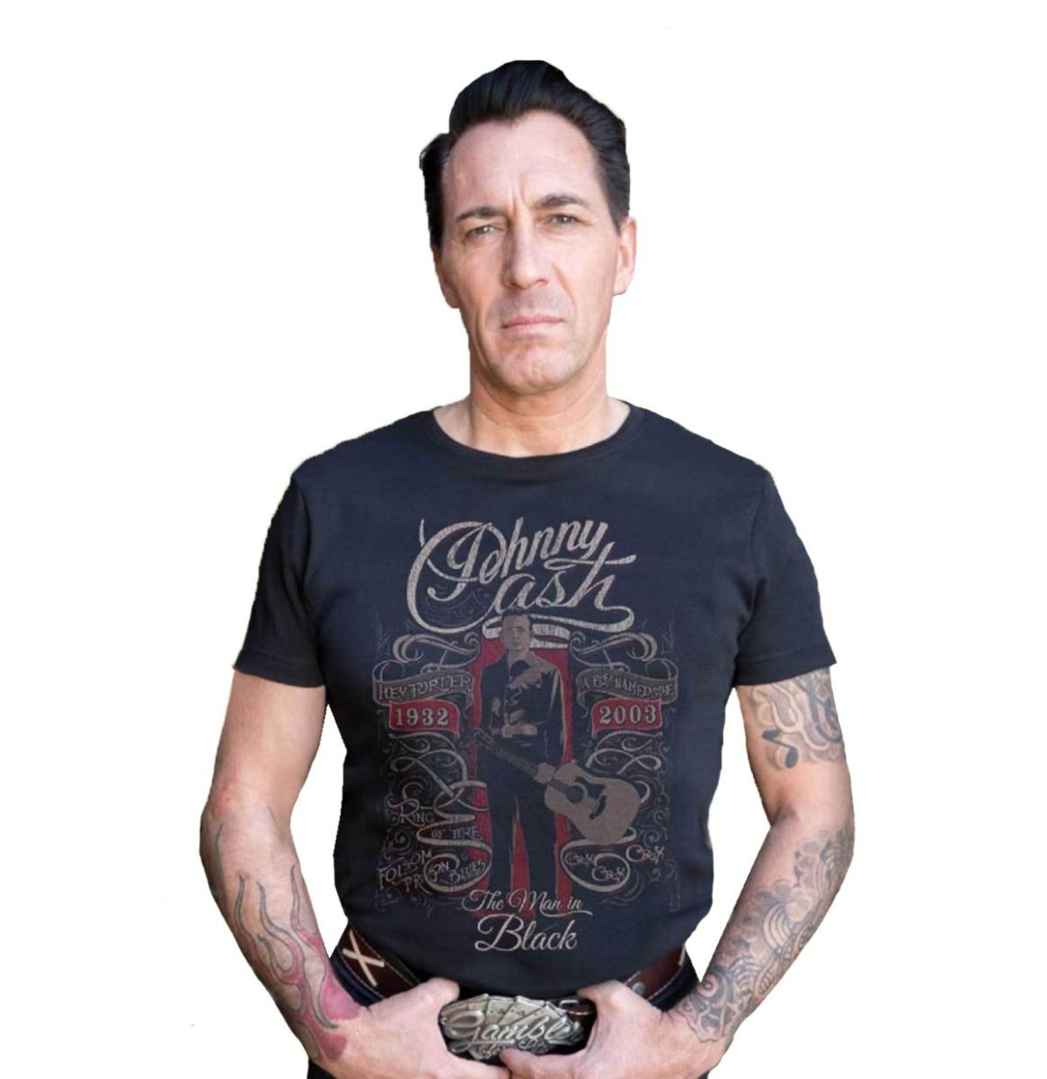 Rumble59 Johnny Cash Man In Black Shirt Zwart