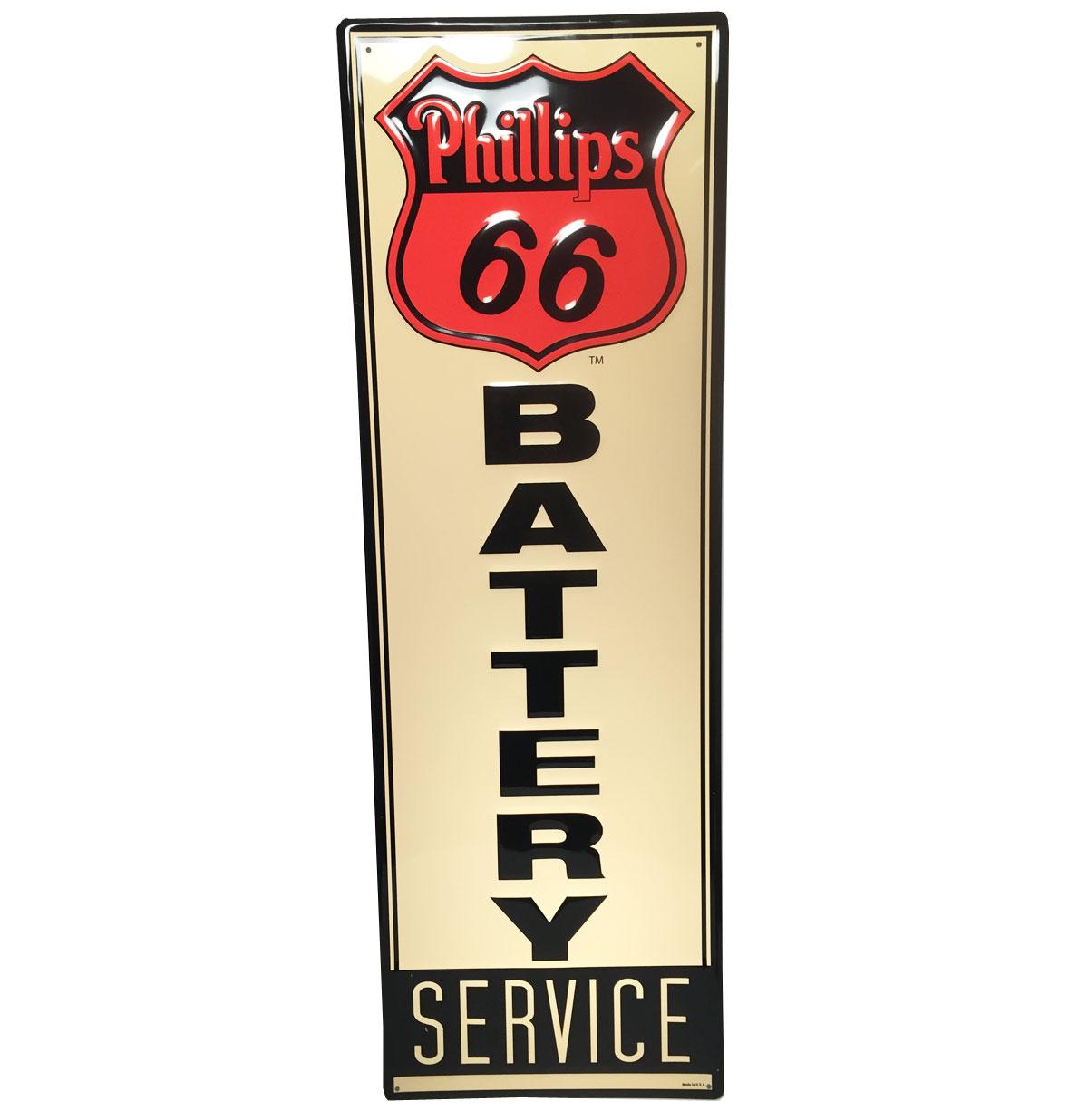 Phillips 66 Battery Service Metalen Bord met Relief
