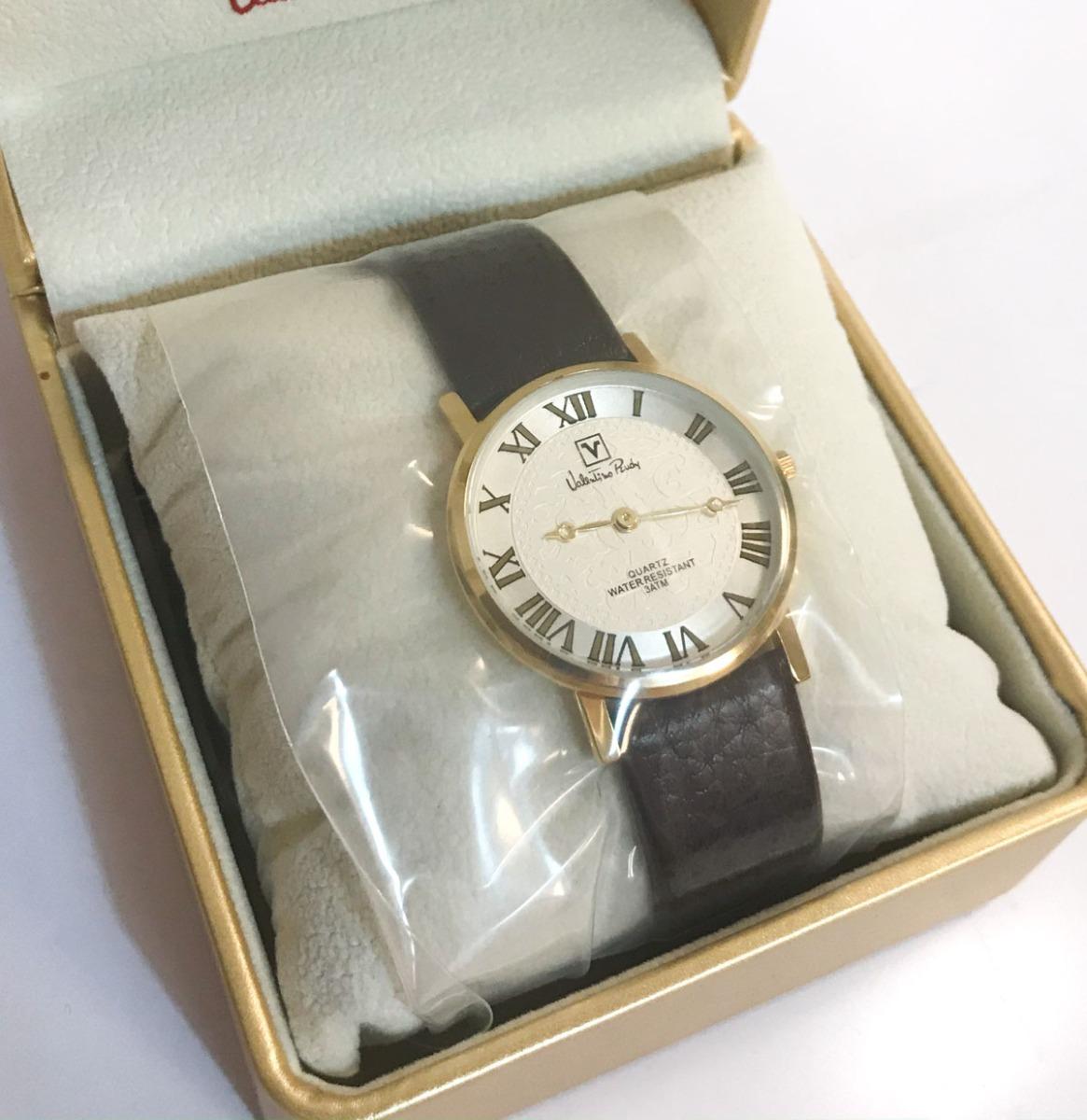 Valentino Rudy Round Face Leather Strap Heren Horloge Goud