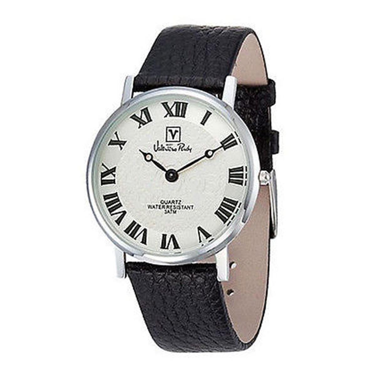 Valentino Rudy Round Face Leather Strap Heren Horloge Zilver