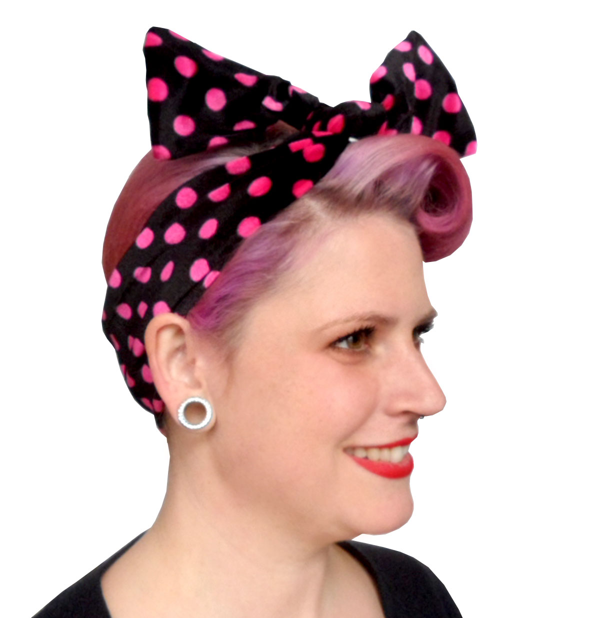 Velvet Headband Black/Pink Dots