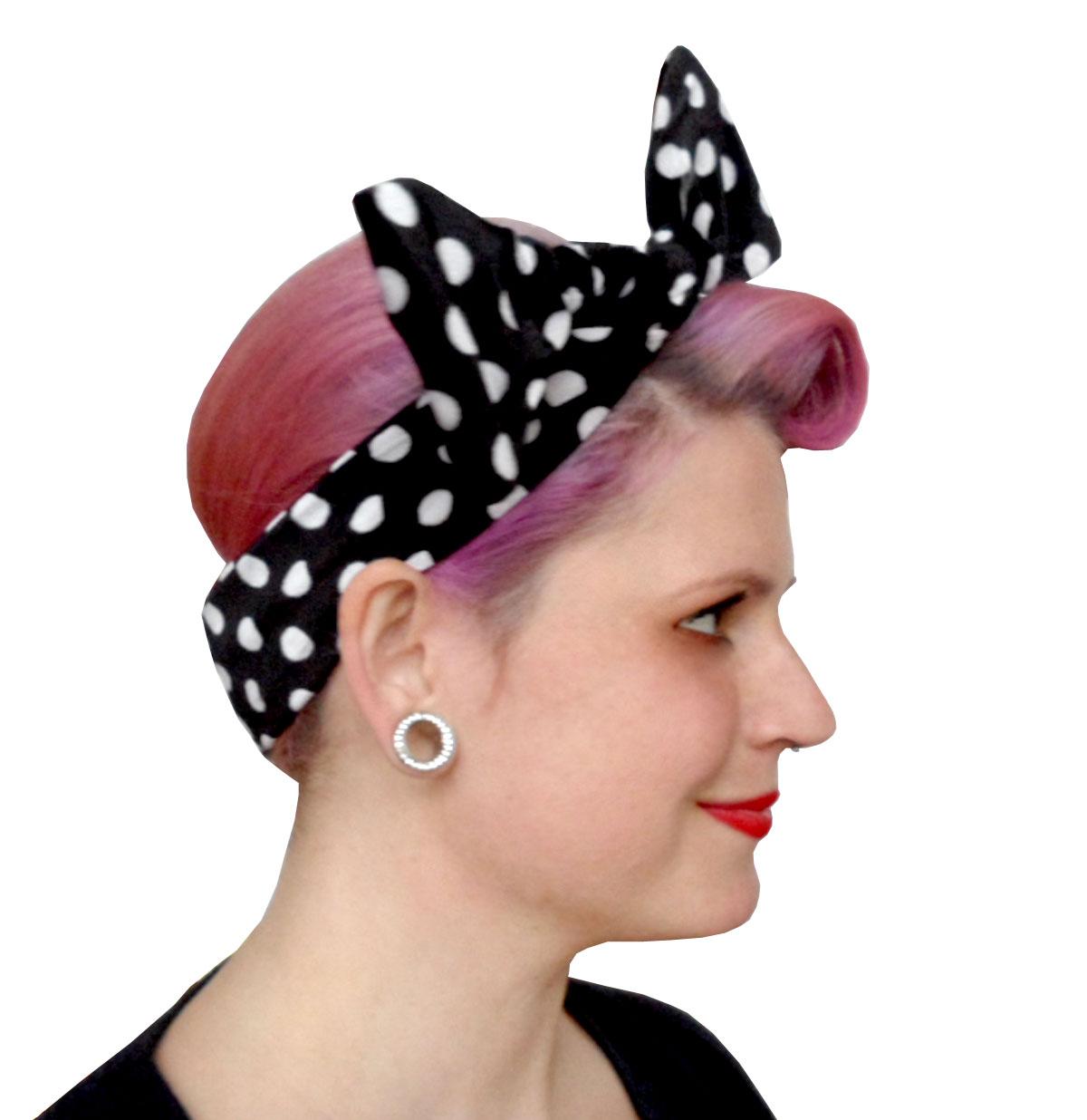 Velvet Headband Black/White Dots