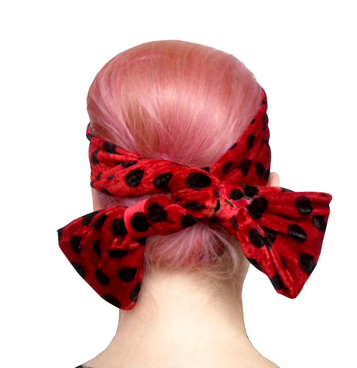 Velvet Headband Red/Black Dots
