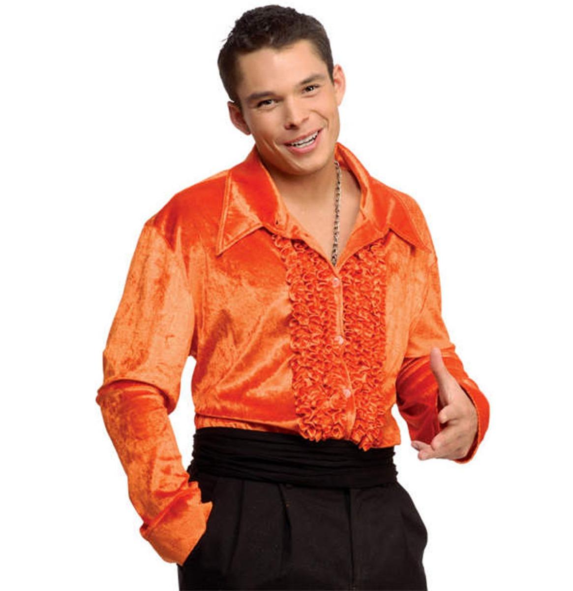 Ruches Overhemd Fluweel Oranje