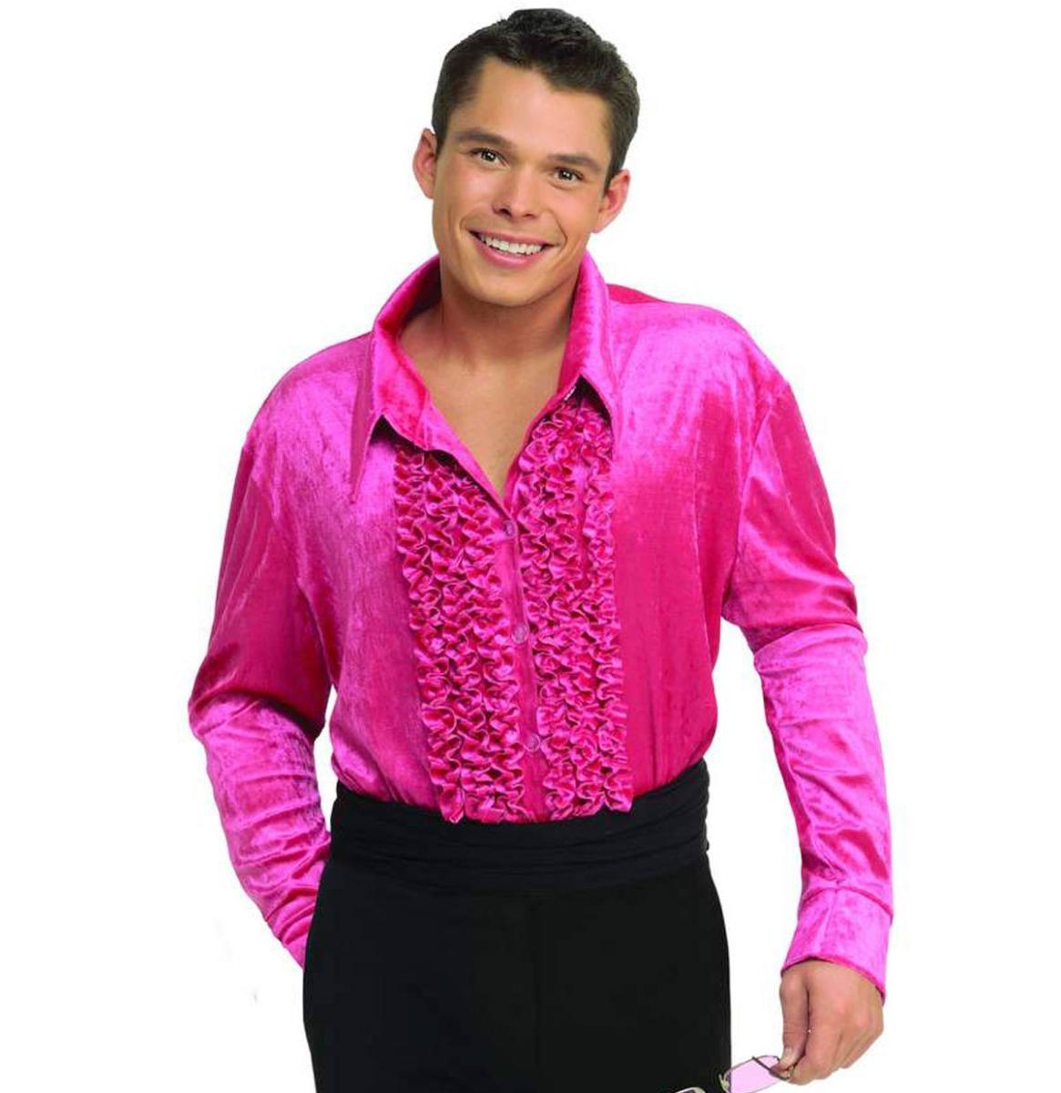 Ruches Overhemd Fluweel Roze