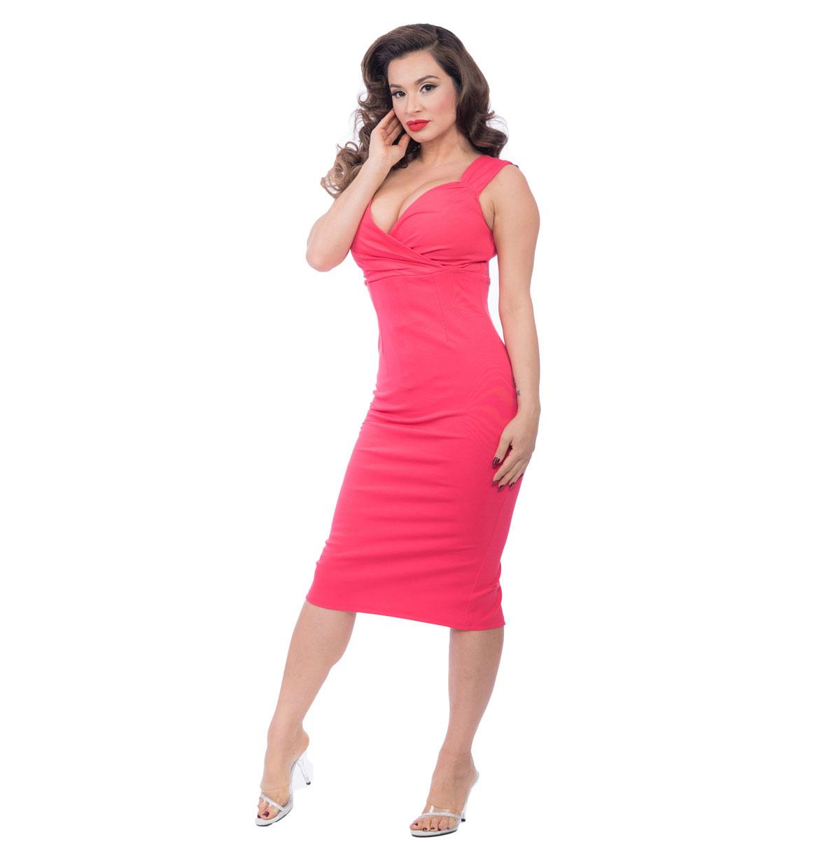 Verona Diva Pencil Dress Hibiscus Rood