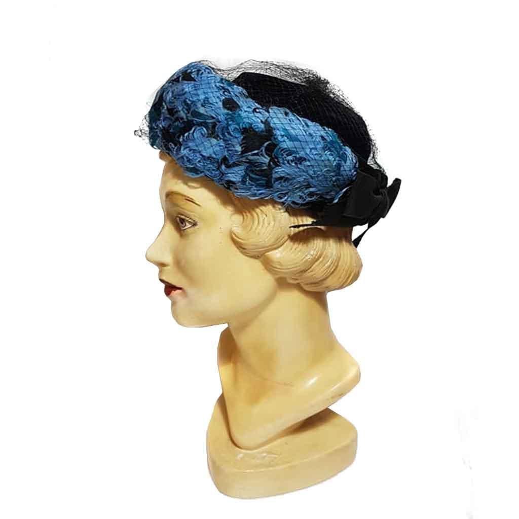 Vintage Hat Black Velvet Blue Feathers