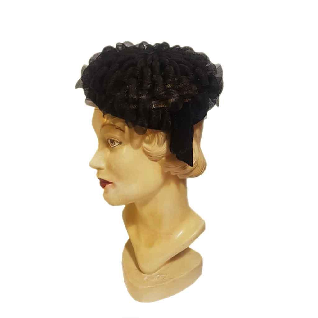 Vintage Hat Velvet Bow Black