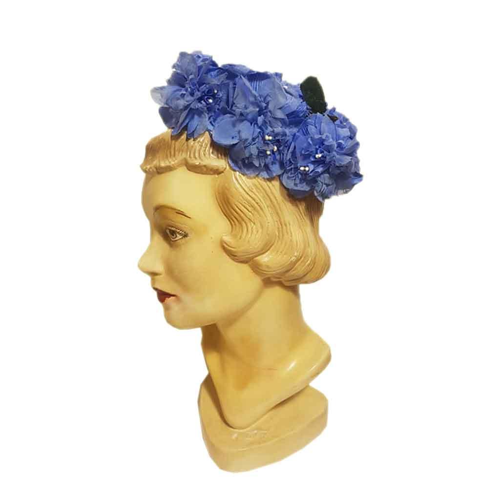 Vintage Hat Flowers Blue