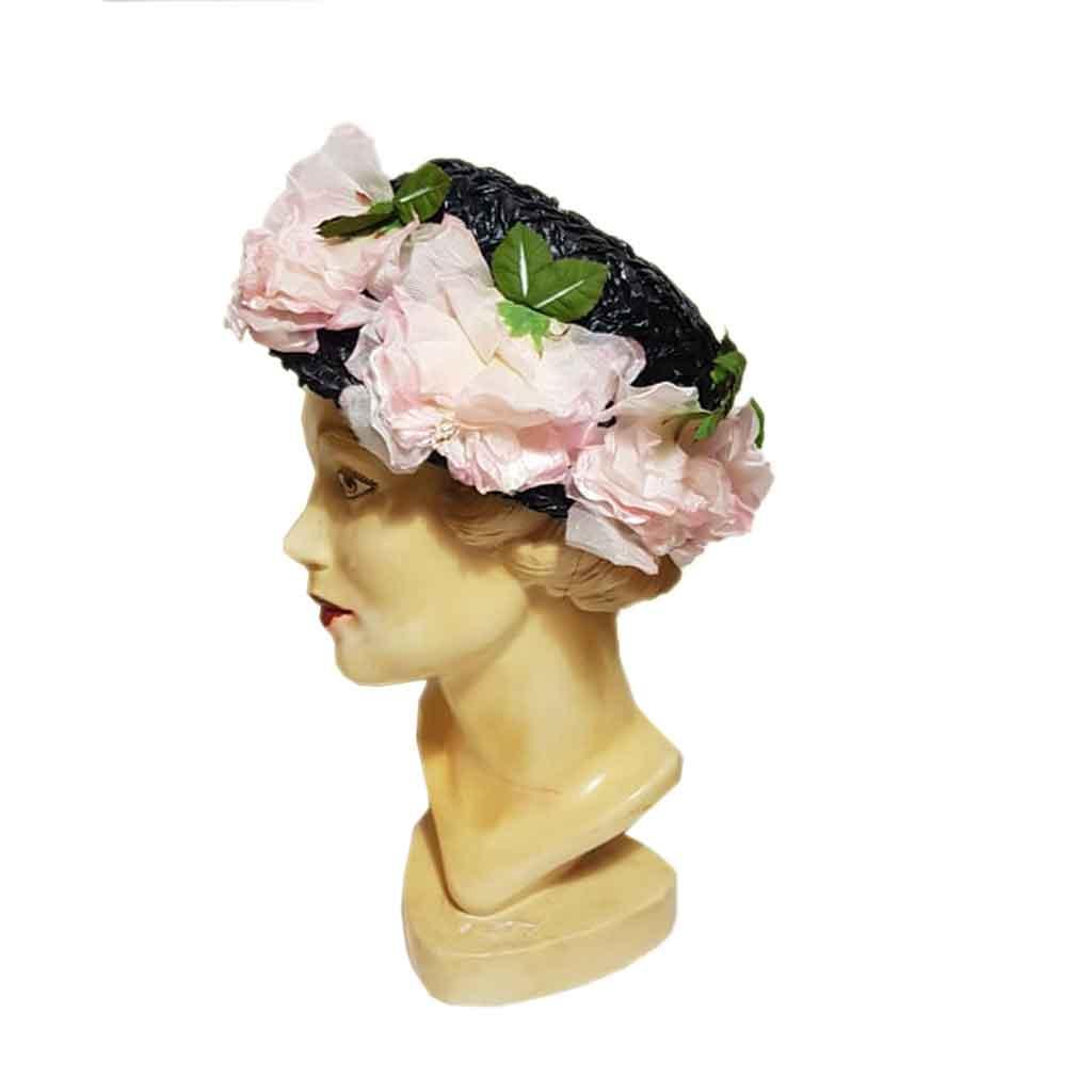 Vintage Hat Straw Black Flowers Pink