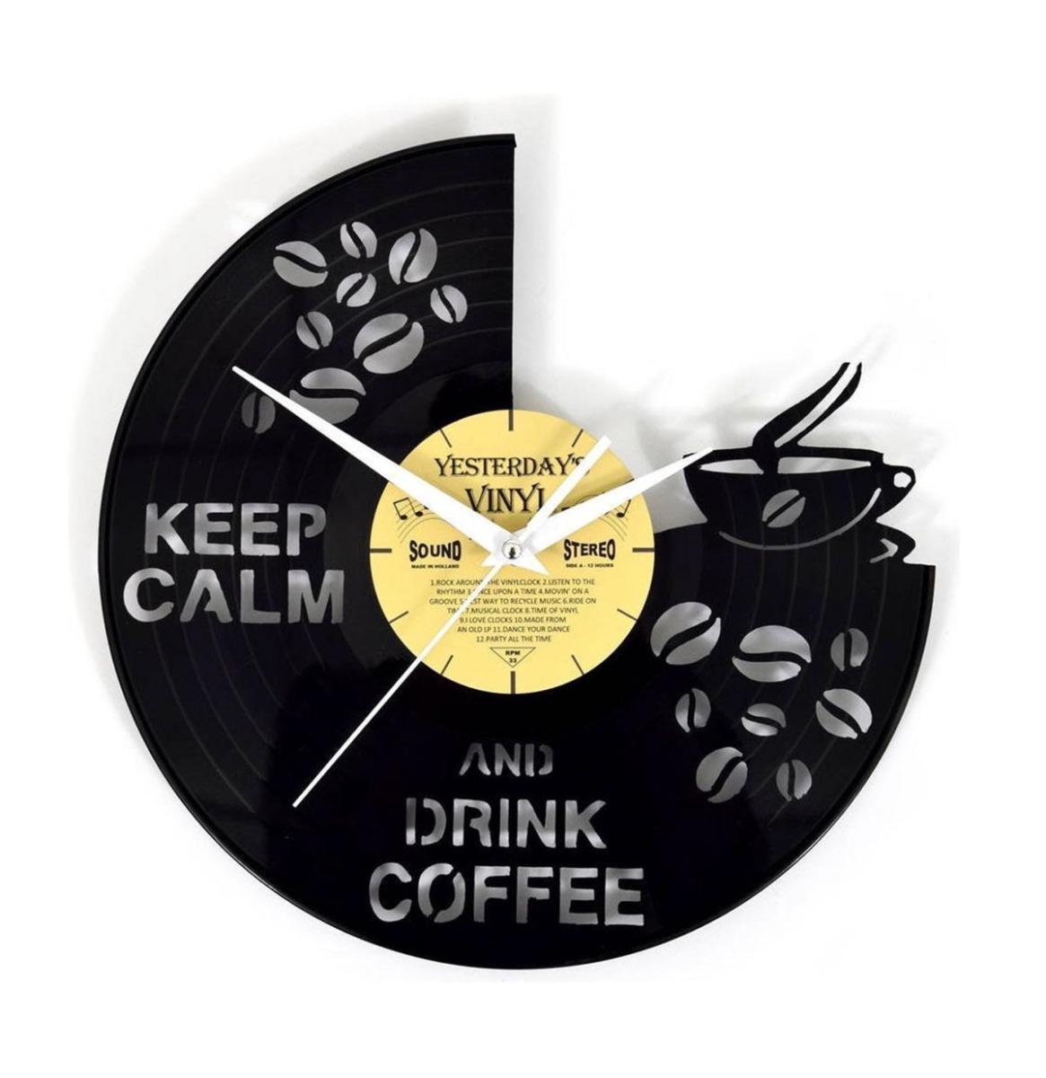 Vinyl Klok Bakje Koffie - Gemaakt Van Een Gerecyclede Plaat