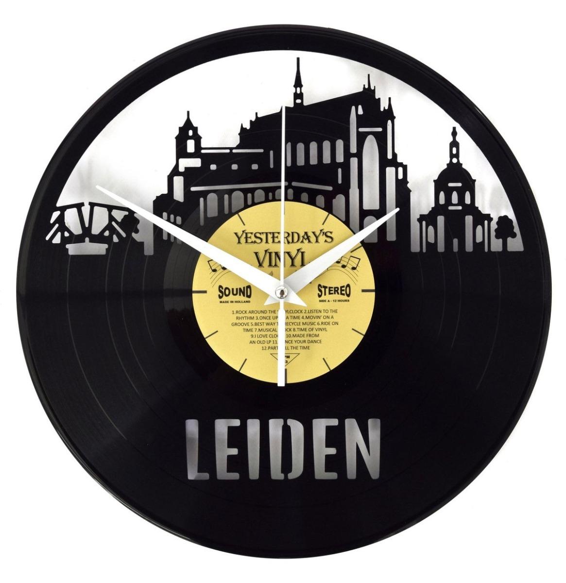 Vinyl Klok Skyline Leiden - Gemaakt Van Een Gerecyclede Plaat