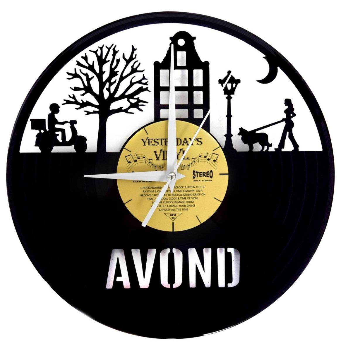 Vinyl Klok Avond - Gemaakt Van Een Gerecyclede Plaat