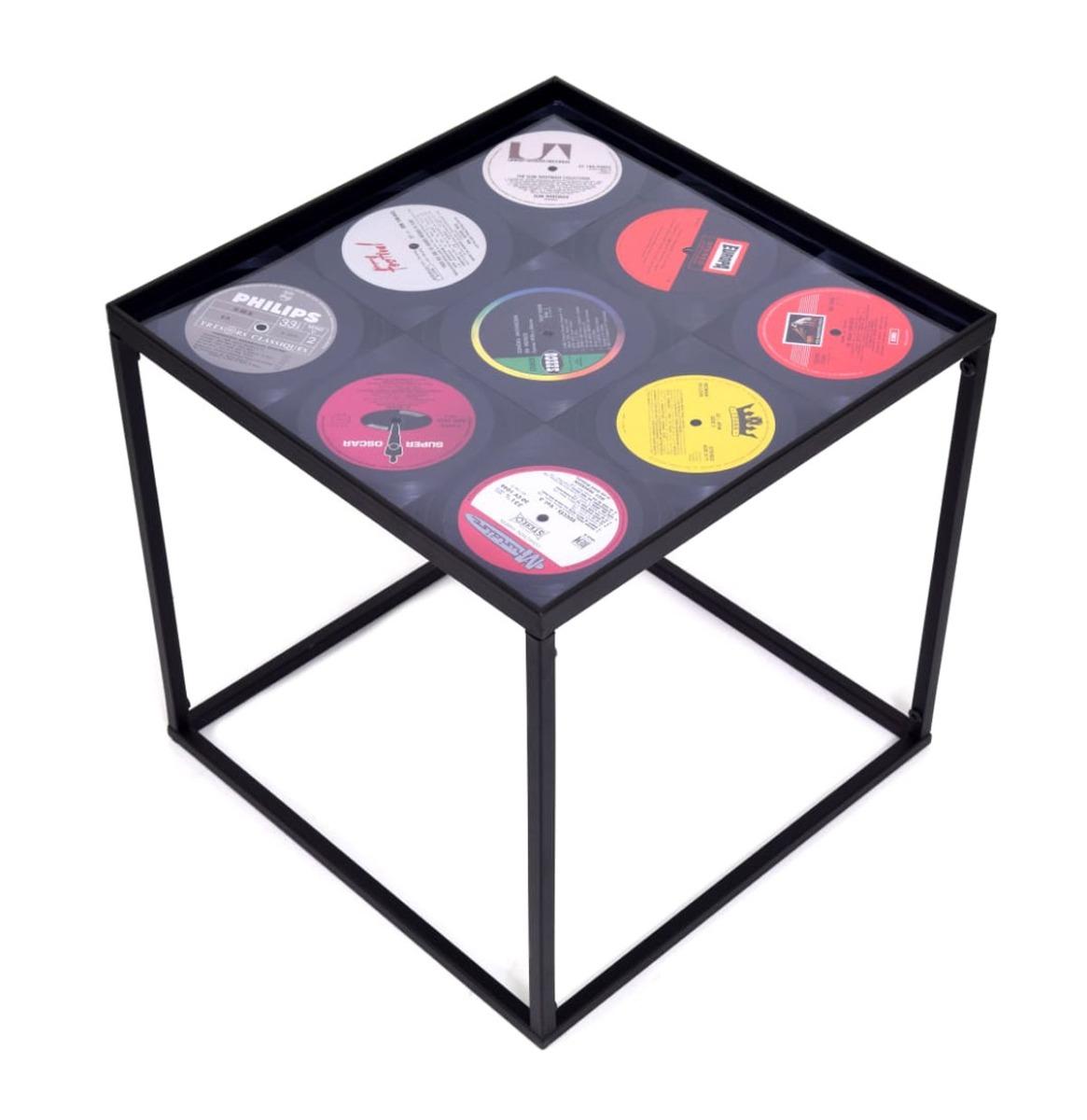 Koffietafeltje Vierkant Model Met Tegeltjes Van Echte Vinyl Platen
