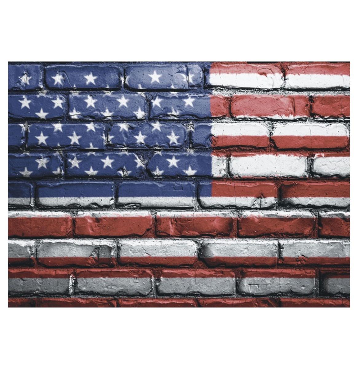 Usa Flag Painted On Brick - Metalen Bord Met Reliëf - 43 x 31 cm
