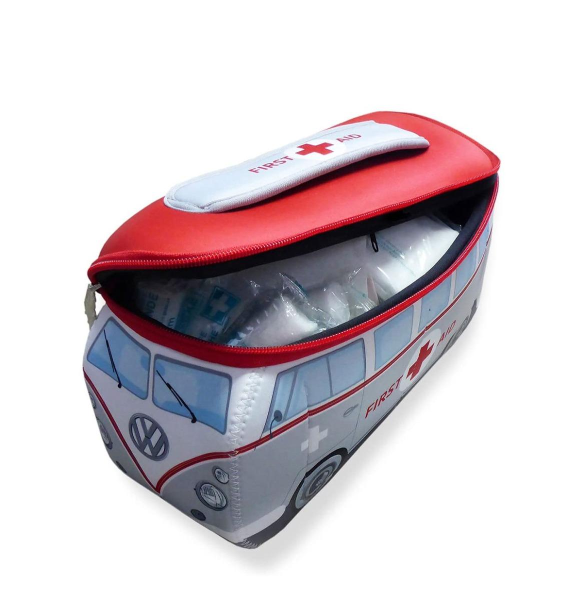 fiftiesstore Volkswagen T1 Bus Kleine EHBO Tas incl EHBO Kit (Rood/Grijs)