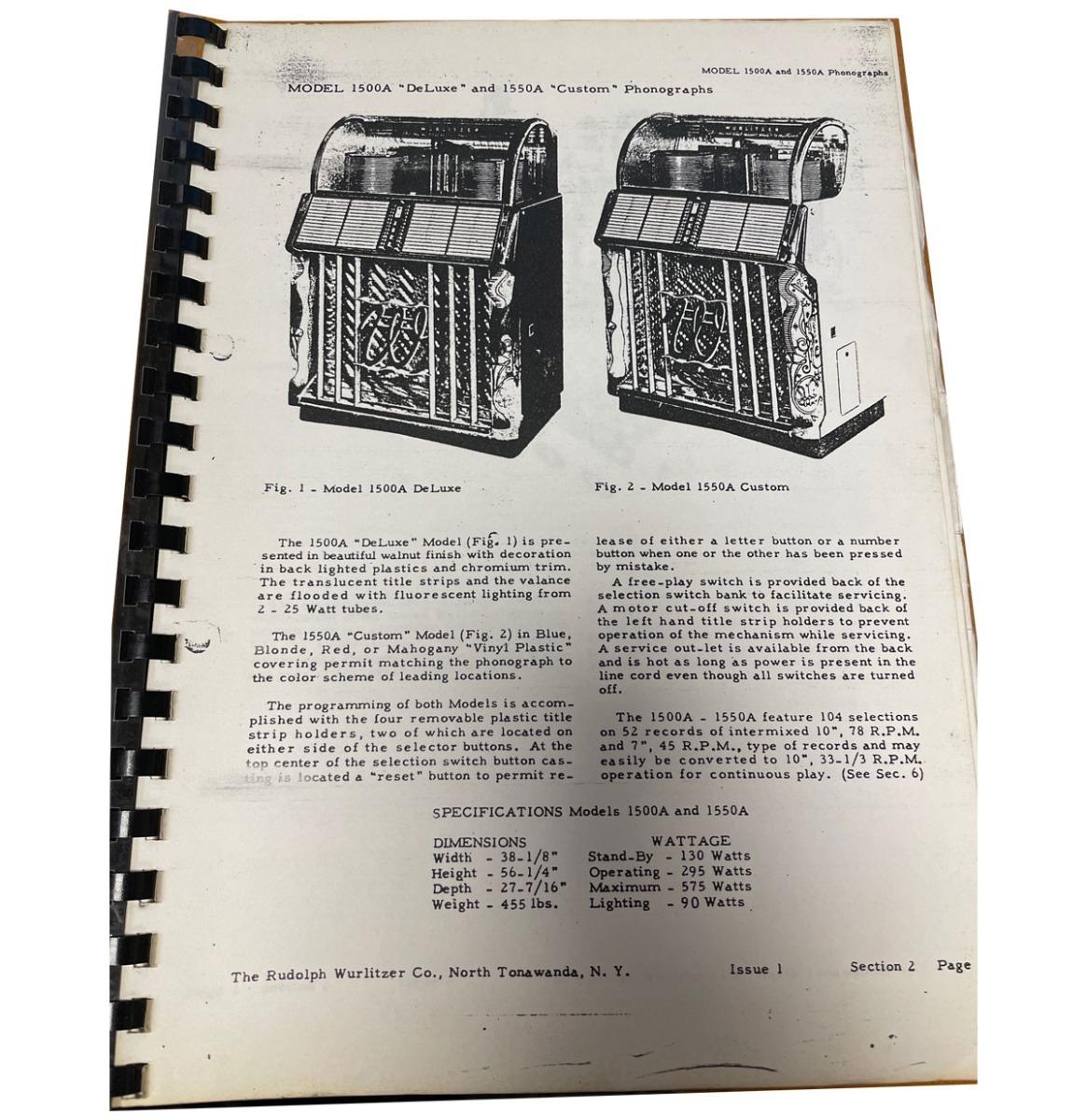 Wurlitzer 1500 / 1550 Manual Gebonden Kopie