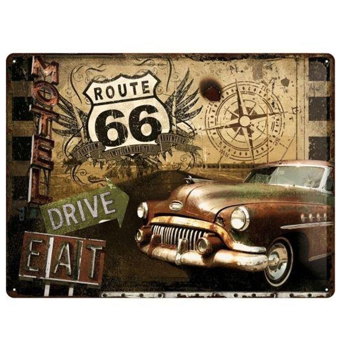 Route 66 Metalen Bord - 30 x 40 cm