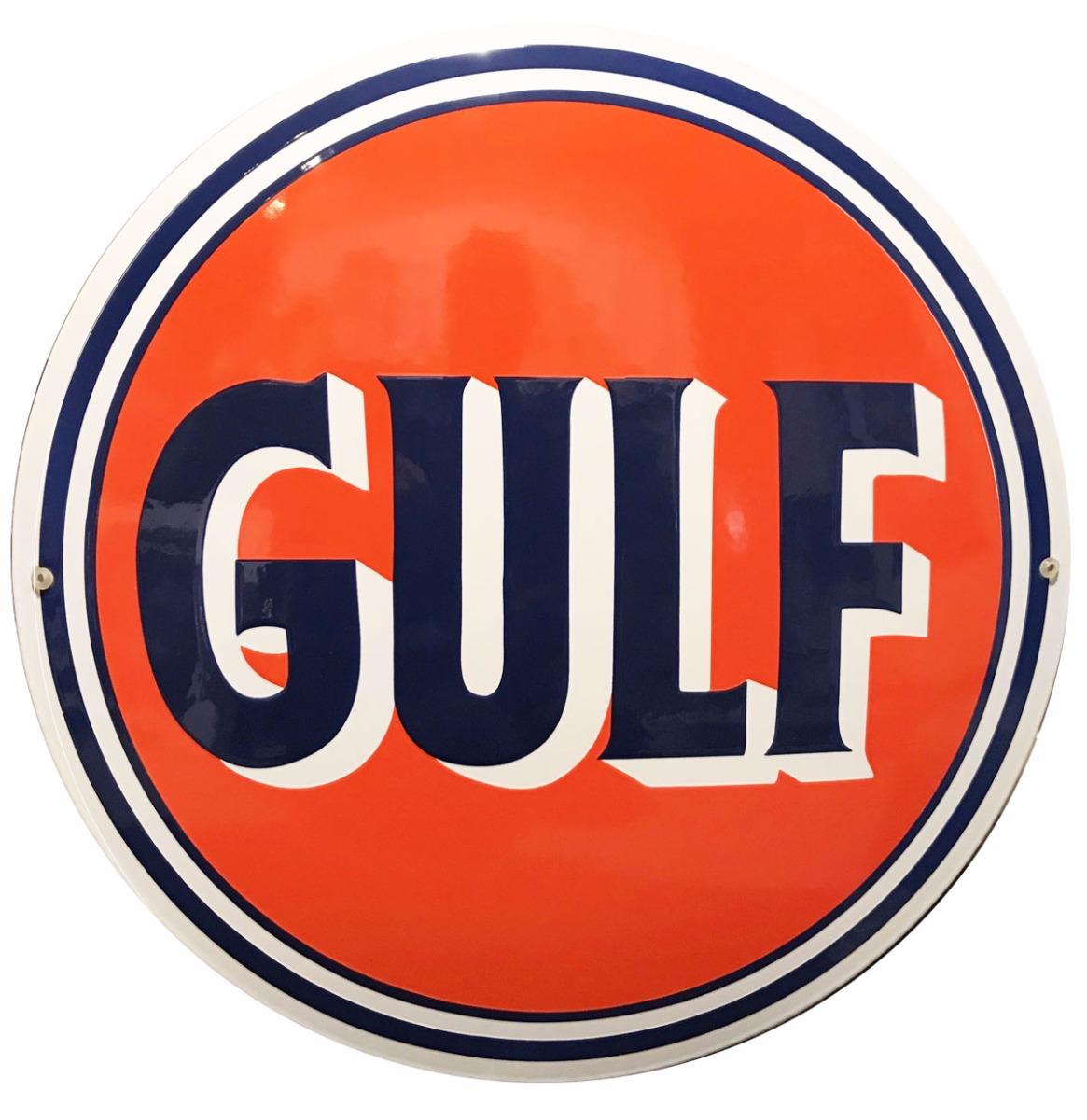 Klassieke Gulf Logo Emaille Bord (Donker Oranje) 40 cm