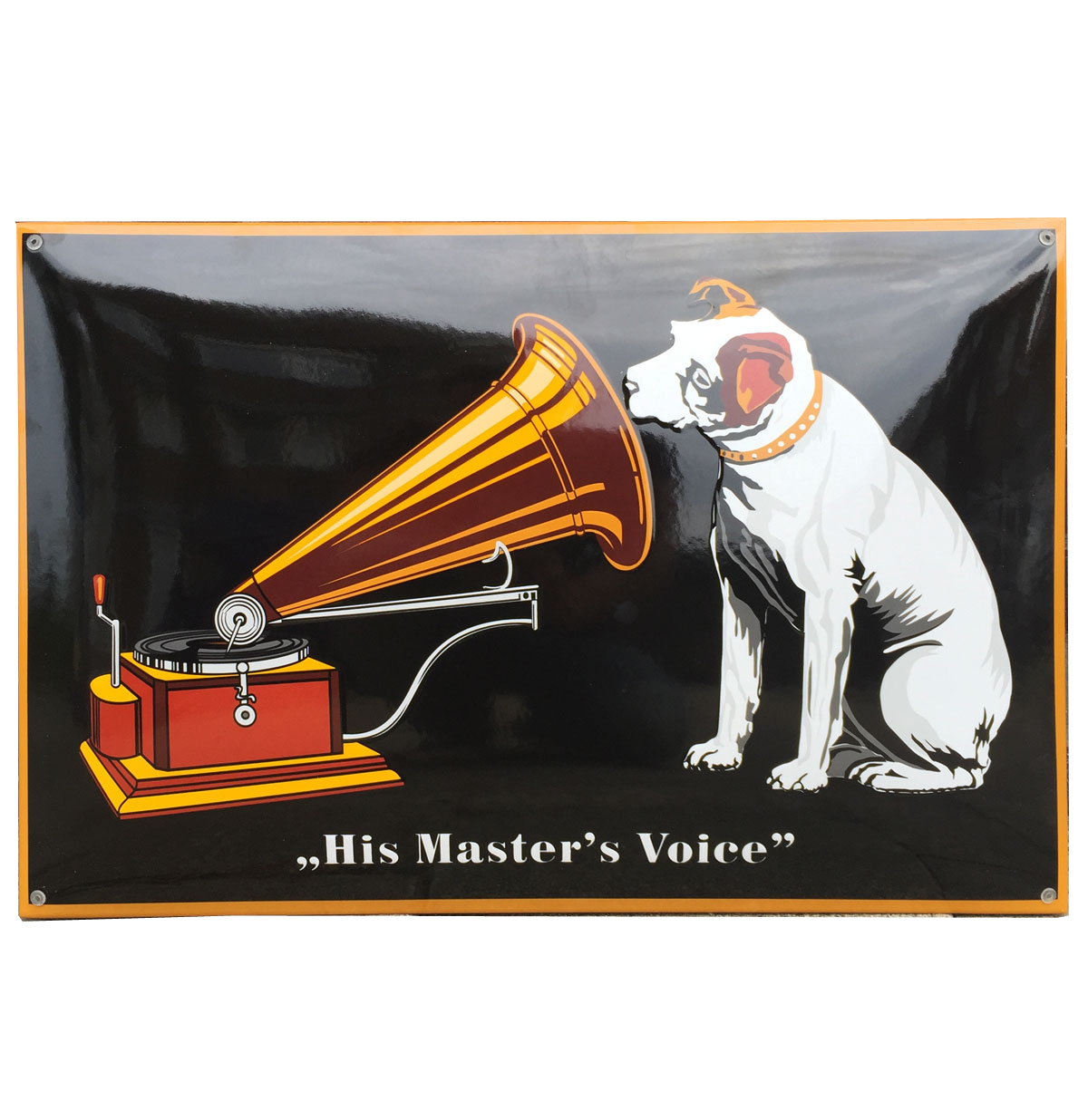 His Master's Voice Groot Emaille Bord V.1