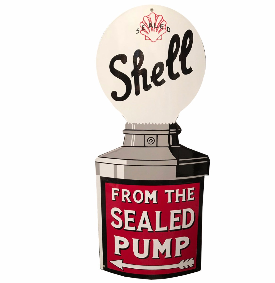 Shell From The Sealed Pump Emaille Bord 80 x 37 cm