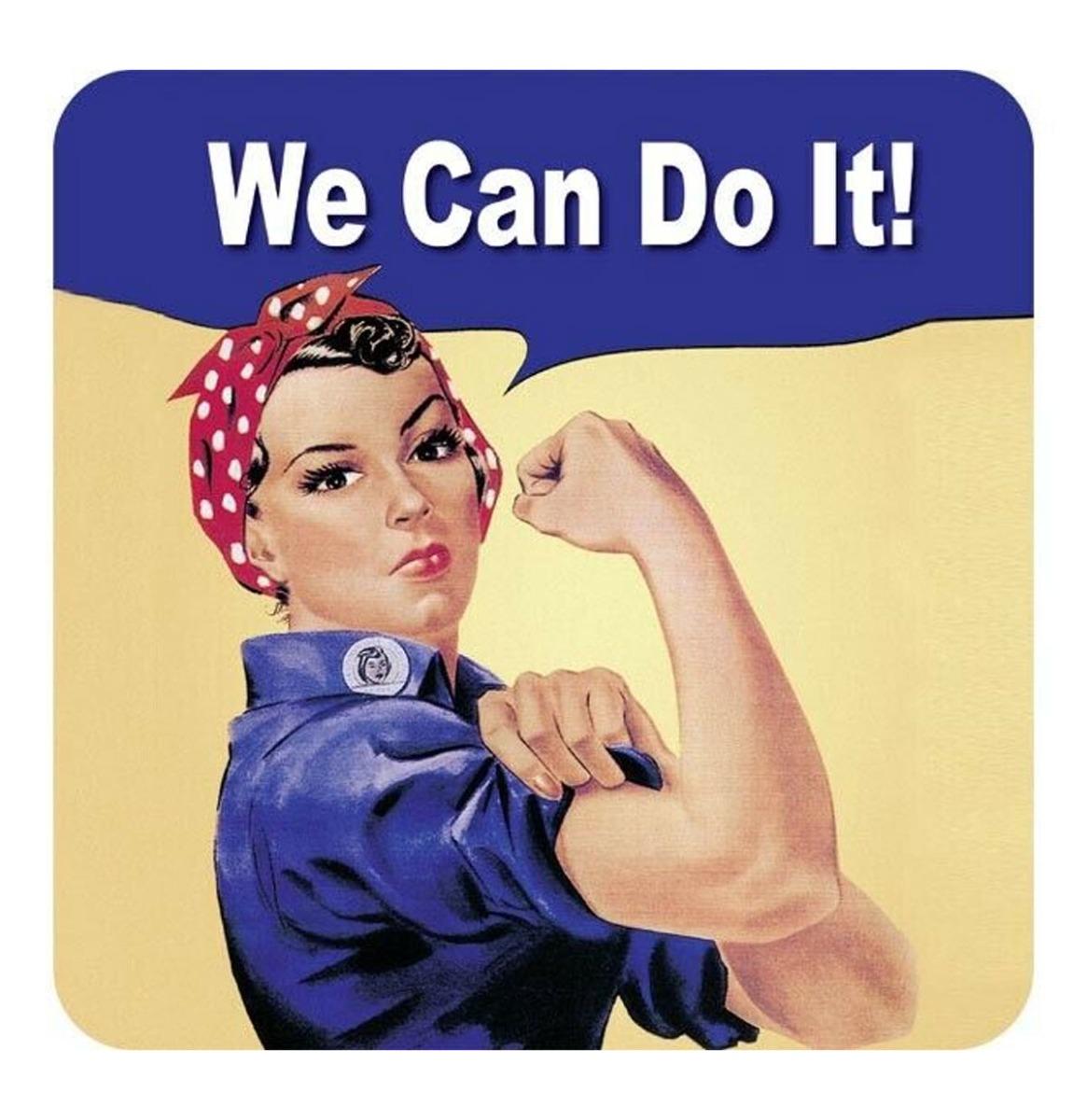 We Can Do It! Metalen Onderzetters - Set Van 5