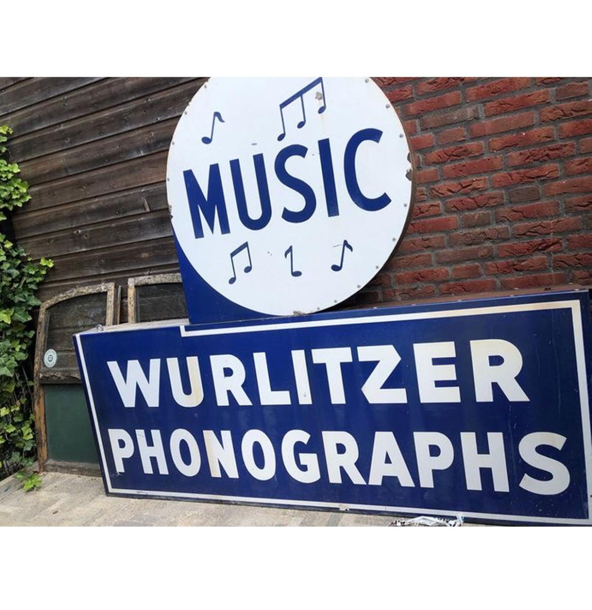 Origineel Emaille Wurlitzer Dealer Bord - Mid Century - 2-Zijdig
