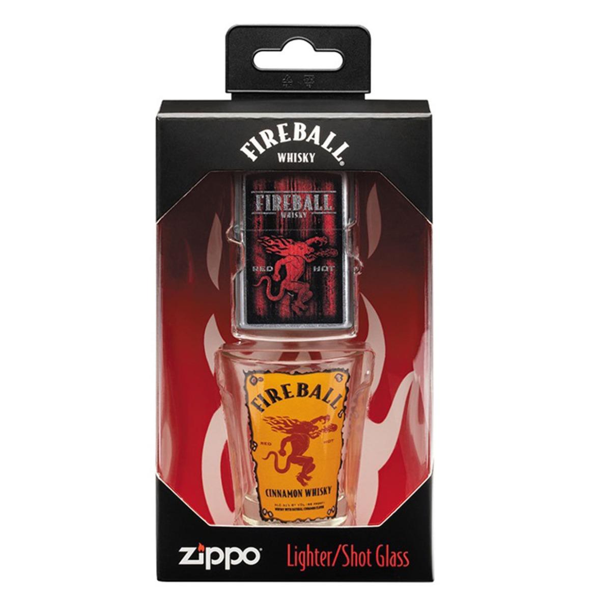 Zippo Fireball Whisky Aansteker En Shot Glaasje Cadeauset